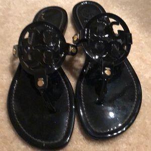 Tory Burch patent leather flat slip on sandal